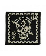 LUCKY~13 Black DEATH SHOCK Skull Bolt Bandana Rockabilly Handkerchief NEW