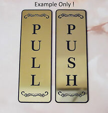 Push Pull Front Door Sign Laser Engraved Plastic Sign, 11 COLORS
