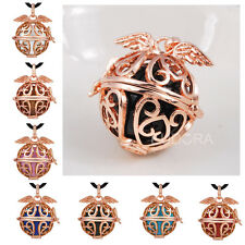 gold Angel Wing Cage Harmony ball pendant Mexican bola Chime bell Necklace H68