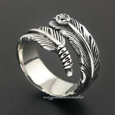 316L Stainless Steel Elegant Bird Feather Mens Biker Ring 3K003XG