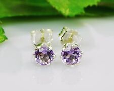 Genuine Purple Amethyst Round Sterling Silver Earrings (Choose Your Size)