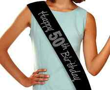 Happy 50th Birthday Rhinestone Sash - 9 colors to choose from