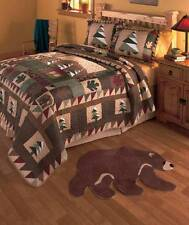 Big Pine Lodge Quilt Bedding Set Bear Pine Tree Leaves Rustic Country Cabin