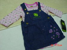 NWT Infant Girls John Deere 2 Piece Outfit Creeper Denim Jumper Pink Tractor