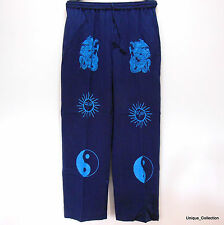 Navy Blue Celtic Sun & Ying Yang Printed Funky Light Cotton Summer Trouser Pant