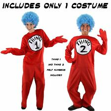 Adult Book Cartoon Dr. Seuss The Cat in the Hat Thing 1 & Thing 2 Deluxe Costume