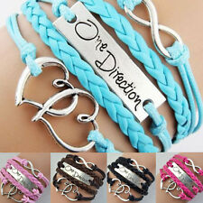 NEW LOVE HEART INFINITY SIDEWAY BRAIDED ONE DIRECTION LEATHER BRACELET WRISTBAND