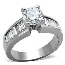 Stainless Steel Engagement Ring 7.5MM Round CZ Solitaire with Baguettes Accents