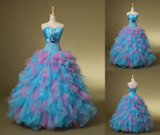 New Blue Quinceanera Dresses Ball Gown Prom Party Dress Stock Size 2+4+6+8+10++