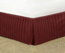 BURGUNDY STRIPED TAILORED BED SKIRT 1000 TC 100% COTTON CHOOSE DROP LENGTH +SIZE