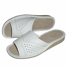 Ladies, Women`s, Leather Slippers, White Boots Footwear Nowbut 36 37 38 39 40 41