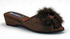 Inblu Women's Classic Slippers Embelished with Fur, Chocolate/Brown - Slippers