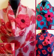 POPPY SCARF & FREE BROOCH PIN HAIR FLOWER LARGE SIZE Scarves Shawl Style Wrap