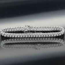 Women's 14K White Gold Finish 1.50 CT Diamond S-Link Tennis Bracelet, 5-10 Inch