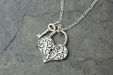 Key to My Heart sterling silver necklace-Victorian style heart lock & key charm