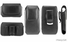 Black Leather Cell Phone Holder Cover Case Pouch Belt Clip Vertical / Horizontal
