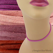 Custom 3mm SUEDE Lace Necklace / Choker your length/color PINK + (leather cord)