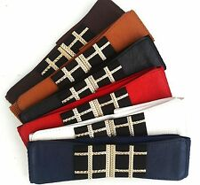 1PC Women Square Check Buckle Elastic Stretch Band Dress Waist Belt Band Wrap