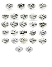 5 x SILVER WEDDING PARTY HEART CHARMS FOR  BRIDE GROOM BRIDESMAID ETC OR A MIX