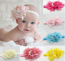 Baby Toddler Elastic Rose Flower Pearl Headband Hairband Hair Band 13 Color T
