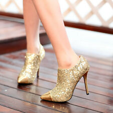 Womens Ladies Shiny Gold High Heel Pointed Toe Party Pump Shoes Boots in Fashion