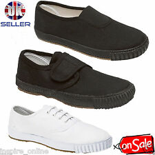 BOYS GIRLS UNISEX ADULT SPORTS SCHOOL PE GYM TRAINERS PLIMSOLLS PUMPS SHOES SIZE