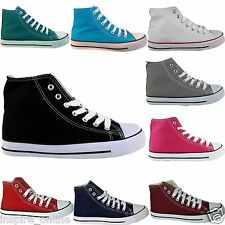 LADIES WOMENS HI HIGH TOP LACE UP FLAT CANVAS PUMPS TRAINERS PLIMSOLLS SHOES