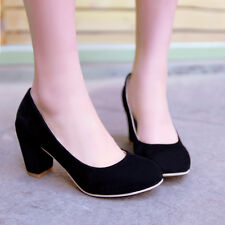 Womens Hot Selling Faux Suede Chunky High Heel Snug Pump Shoes Pull On Plus Size