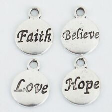 Wholesale 50Pcs Tibetan Silver Hope Faith Love Believe Charms 10mm