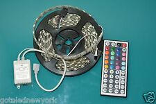 5050 RGB Waterproof Flexible 300 LED Strip + IR remote 44 keys controller 5 mts
