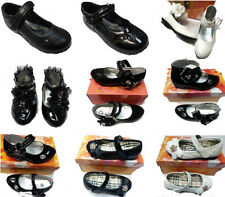 GIRLS WHITE BLACK DIAMANTE SHOES PATENT KIDS FORMAL CASUAL SMART PARTY ANKLE SH
