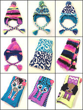 NWT GIRLS JUSTICE TRAPPER HAT SCARF NEON ANIMAL ONE SIZE REVERSIBLE