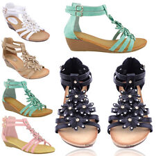 NEW LADIES WOMENS SUMMER SANDALS WEDGE HEEL FLAT LOW BEACH SHOES SIZE