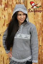 Metis Hooded Sweater Etchiboy Red River Cart Grey Alpaca Wool Bell Shape S-XXL