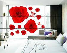 Red Rose Pink Flowers Butterflies Wall Stickers Art Decor Decal TV Lounge Bed