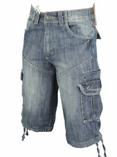 Tokyo Laundry Denim Jean/ Cargo Shorts 'Block' Vintage Blue Wash Mens