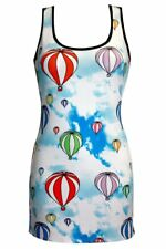 Ladies Unique Funky Sky Hot Air Balloons Print  Long Vest Tank Top Dress