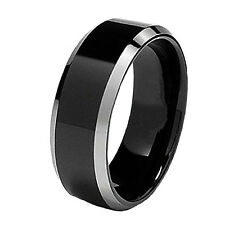 Tungsten Carbide Men's Comfort Fit Wedding Ring Band Black IP Beveled Silver 8mm