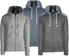 Men's Quilted Denim Patched Long Sleeve Casual Hoodie Tops Sweats Jumpers S-XL
