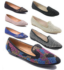 LADIES FLAT PUMPS WOMENS GLITTER BALLET BALLERINA DOLLY BRIDAL SHOES SIZE