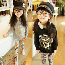 New Kids Toddlers Girls Lapel  Tiger Image Shirts Tops Sweater 3-8 Y T517