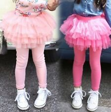 New Kids Six Layer Laces Skirt Leggings Baby Girls Solid Color Pants Size2-7Year