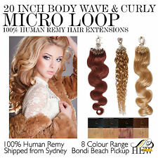 20 Inch Micro Loop - Body Wave / Curly 100% Remy Human Hair Extensions Sydney