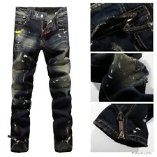 New Men Italy Style Fashion Distressed Biker Washed Jean Size 28-38 (#868)