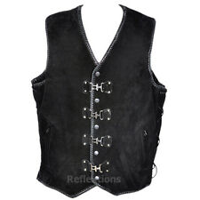 Motorcycle Vest Buckle Leather Biker Rider Waistcoat Double Braided Suede Vest