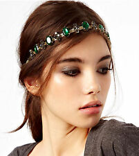 Women Faux Gemstone Rhinestone Green Boho Bohemian Party Hair chain head band