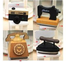 Cute Korean Stationery Wooden Camera Iron Telephone Sewing Machine Rubber Stamp