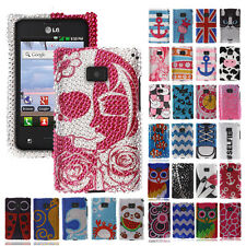 FOR LG Optimus Logic L35g Dynamic L38c Phone Bling Diamond Cover Hard Case