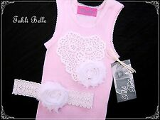TAHLI BELLE Baby Girls Pink Vintage CROCHET HEART Flower Singlet Headband Set