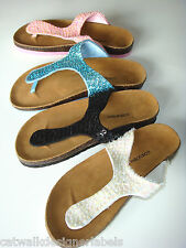 MILAFALCO SEQUIN FIT FOR THE BEACH FLIP FLOPS SANDALS SHOES SIZE UK 5 38 US7